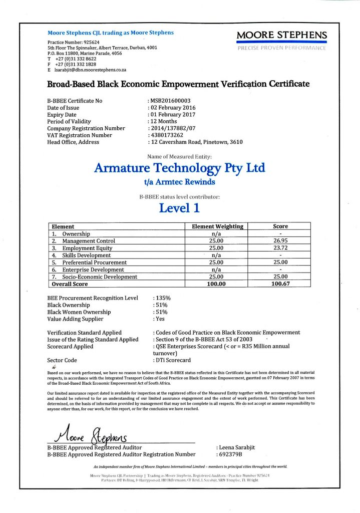 armature technology bbe certificate