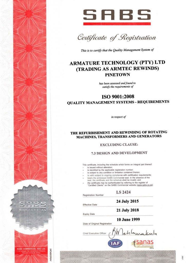 armature rewinds train motors sabs certificate